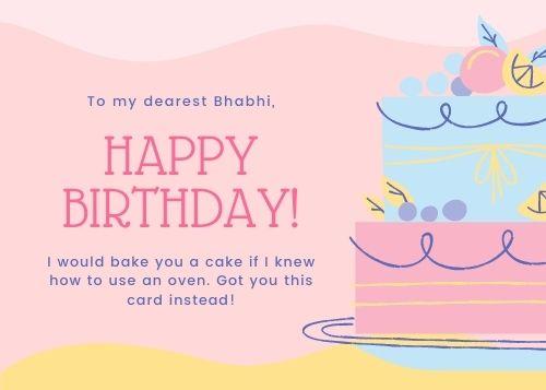 Birthday wishes for Bhabhi Greeting Card Idea